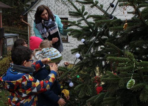 weihnachtsbaum am burgmannenhaus in westerburg ist jetzt bunt geschm ckt. Black Bedroom Furniture Sets. Home Design Ideas